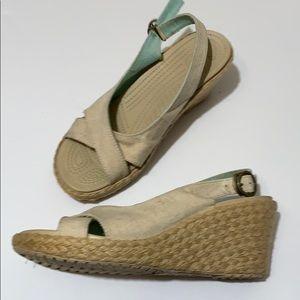 Crocs A-Leigh Linen Wedge Espadrille Sandals 9